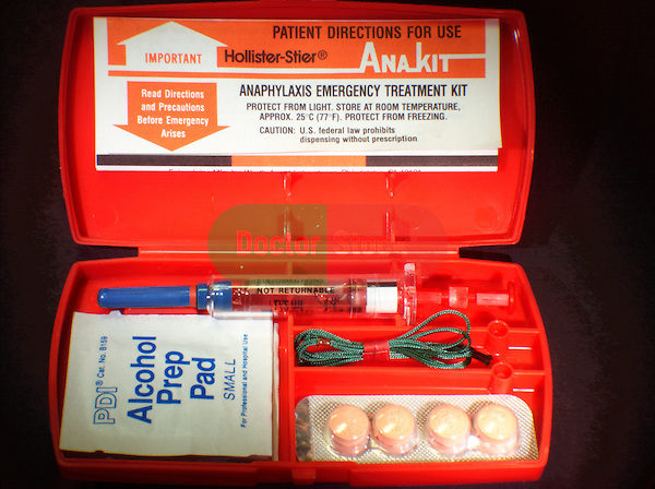 An Anakit, containing a prefilled manual syringe of epinephrine. Popularly prescribed before the invention of autoinjectors.