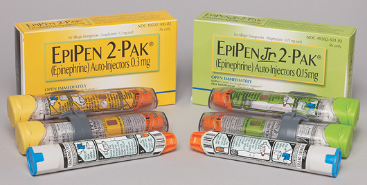 EpiPen and EpiPen Jr. packages. They come in sets of two, in part because two injections are often during the course of an anaphylactic event.